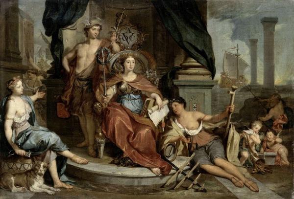 Allegorische voorstelling van de Amsterdamse Kamer van de Verenigde Oost-Indische Compagnie, Nicolaas Verkolje, 1702 - 1746 olieverf op doek, h 59,5cm × b 85cm.