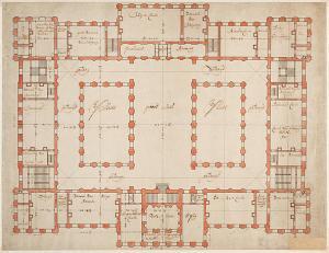 plattegrond stadhuis op de dam 17e eeuw